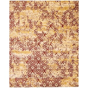 "Nourison Rhapsody 7'9"" x 9'9"" Gold/Garnet Rectangle Rug"