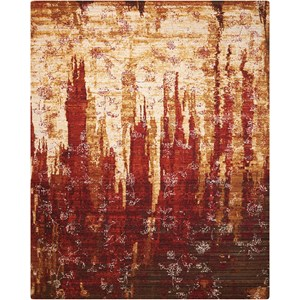 "Nourison Rhapsody 5'6"" x 8' Gold/Garnet Rectangle Rug"