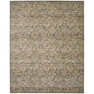 "Nourison Rhapsody 5'6"" x 8' Blue/Moss Rectangle Rug"