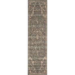 "Nourison Silk Elements 2'5"" x 10' Azure Area Rug"