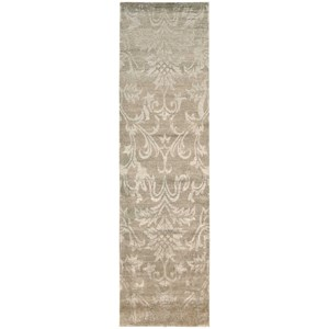 "Nourison Silk Shadows 2'3"" x 8' Light Gold Runner Rug"