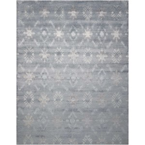 "Nourison Silk Shadows 5'6"" x 7'5"" Blue Rectangle Rug"