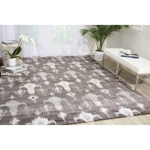 "Nourison Silk Shadows 5'6"" x 7'5"" Grey Rectangle Rug"