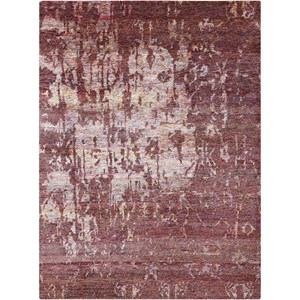 "Nourison Silk Shadows 5'6"" x 7'5"" Wine Rectangle Rug"