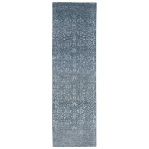 "Nourison Silk Shadows 2'3"" x 8' Blue Stone Runner Rug"