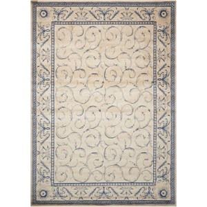 "Nourison Somerset 2' x 2'9"" Ivory Blue Rectangle Rug"