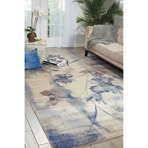 "9'6"" x 13' Ivory Blue Rectangle Rug"