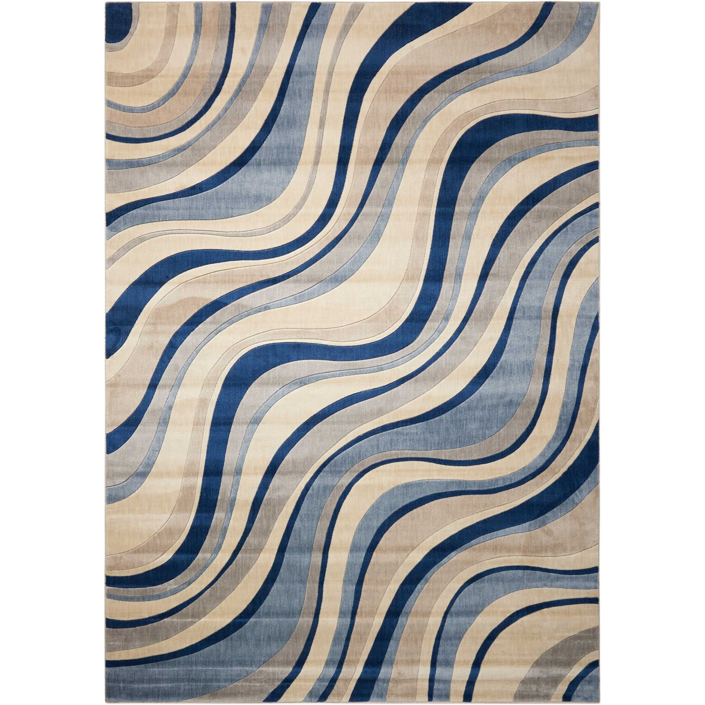 "9'6"" x 13' Ivory Blue Rectangle Rug"