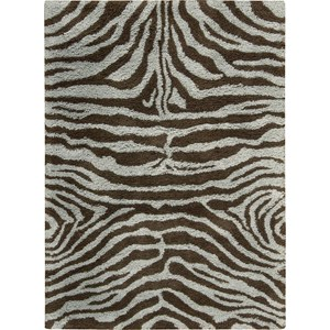"Nourison Splendor 7'6"" x 9'6"" Aqua Brown Area Rug"
