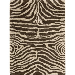 "Nourison Splendor 7'6"" x 9'6"" Ivory Brown Area Rug"