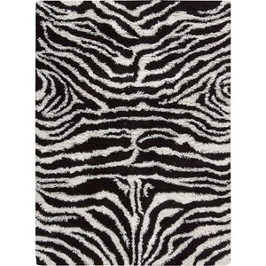 "Nourison Splendor 7'6"" x 9'6"" Black White Area Rug"