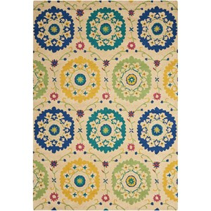 "Nourison Suzani 8' x 10'6"" Ivory Rectangle Rug"