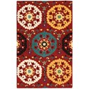 """Nourison Suzani 2'6"""" x 4' Red Rectangle Rug - Item Number: SUZ01 RED 26X4"""