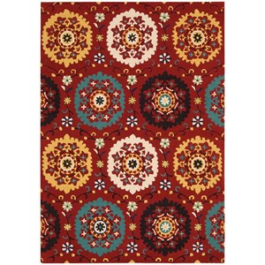 "Nourison Suzani 5'3"" x 7'5"" Red Rectangle Rug"