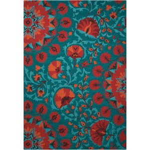 "Nourison Suzani 3'9"" x 5'9"" Teal Rectangle Rug"