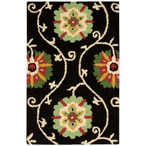 "Nourison Suzani 2'6"" x 4' Black Rectangle Rug"