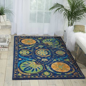 "Nourison Suzani 3'9"" x 5'9"" Blue Rectangle Rug"