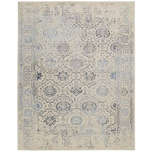8' x 11' Ivory/Blue Rectangle Rug