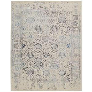 "9'6"" x 13' Ivory/Blue Rectangle Rug"