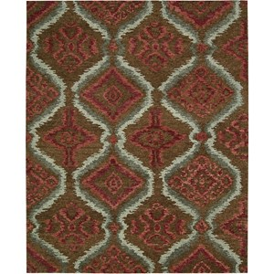 "Nourison Tahoe Modern 7'9"" x 9'9"" Brown Red Area Rug"