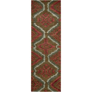 "Nourison Tahoe Modern 2'3"" x 8' Brown Red Area Rug"