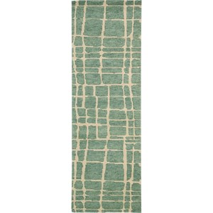 "Nourison Tahoe Modern 2'3"" x 8' Turquoise Green Area Rug"