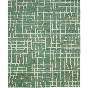 "Nourison Tahoe Modern 7'9"" x 9'9"" Turquoise Green Area Rug"