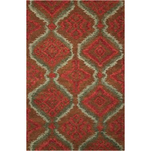"Nourison Tahoe Modern 5'6"" x 8'6"" Brown/Red Rectangle Rug"