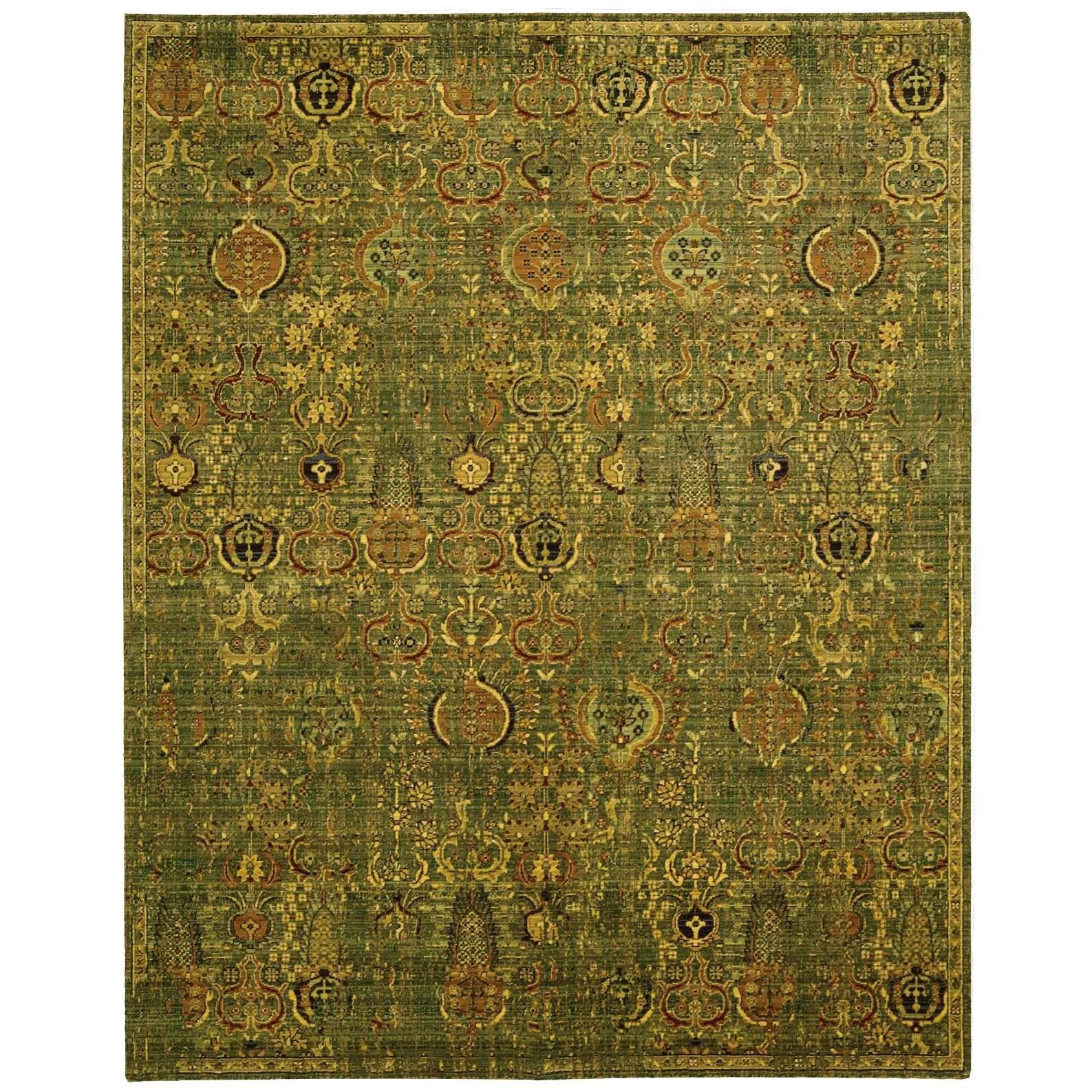 """7'9"""" x 9'9"""" Green Gold Rectangle Rug"""