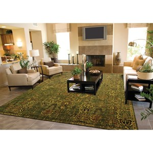 "Nourison Timeless 9'9"" x 13' Green Gold Rectangle Rug"