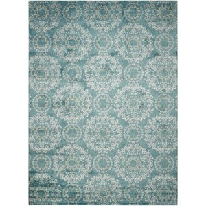 "Nourison Tranquility 9'3"" x 12'9"" Aqua Rectangle Rug"