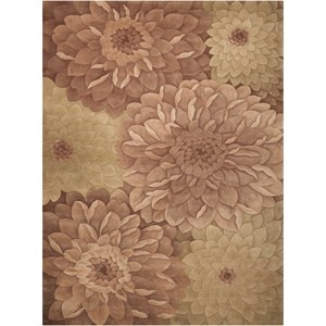 8' x 11' Taupe/Green Rectangle Rug