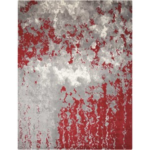 "Nourison Twilight1 5'6"" X 8' Gry/Red Rug"