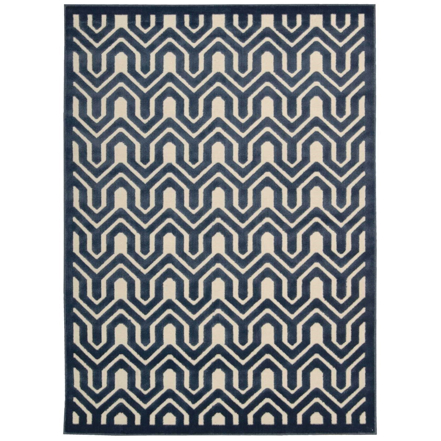 "Nourison Ultima 7'6"" x 9'6"" Ivory Blue Rectangle Rug - Item Number: UL316 IVBLU 76X96"