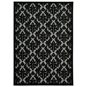 "Nourison Ultima 3'6"" x 5'6"" Grey/Black Rectangle Rug"