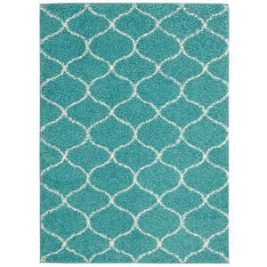 "Nourison Windsor 3'2"" X 4'6"" Teal Rug"