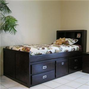 Oak Furniture West Campus Twin Captain Bookcase Bed
