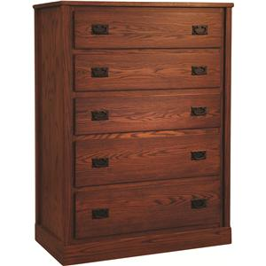 Oakwood Industries Mission Bedroom Mission Five Drawer Chest