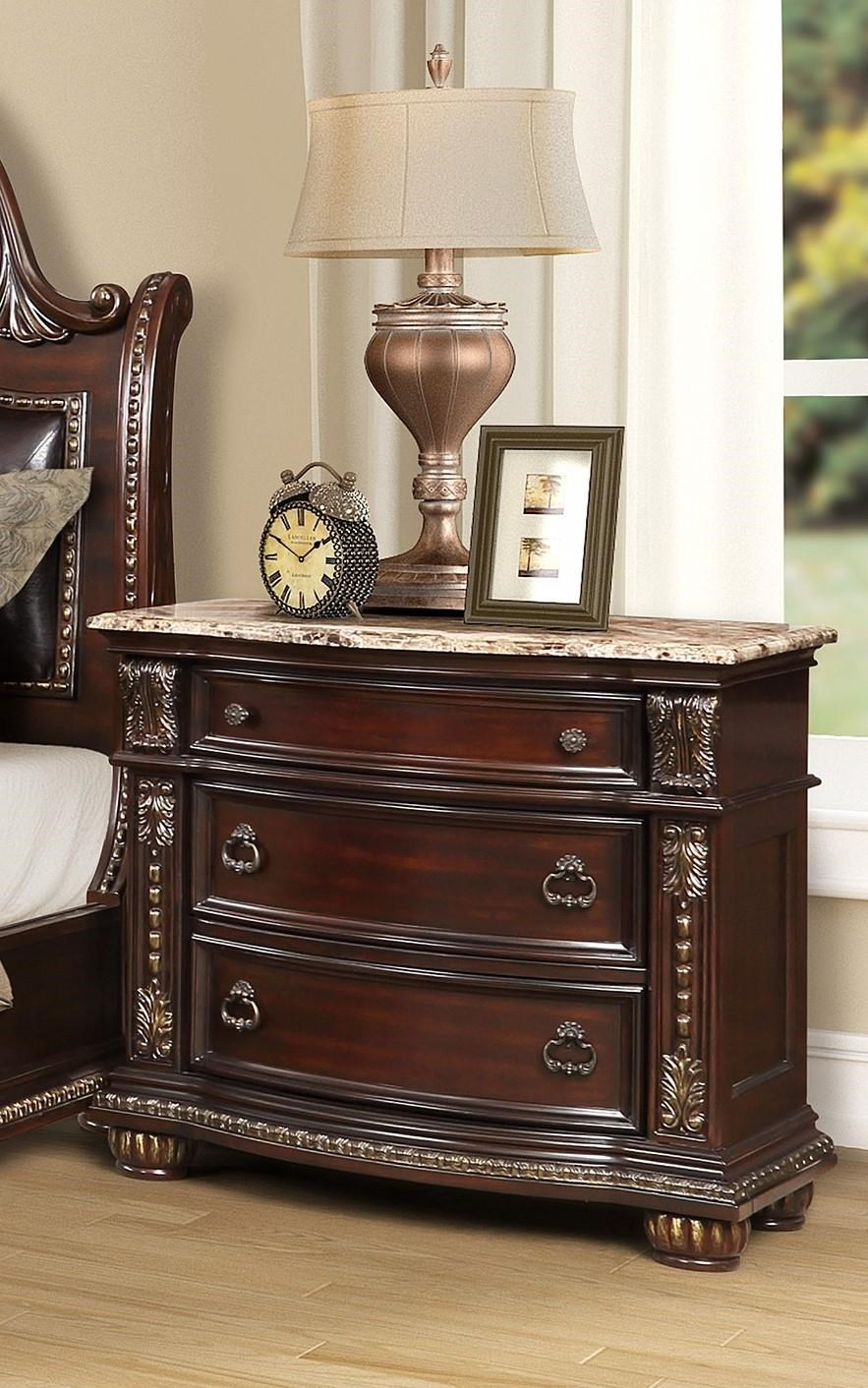 3600 BEAU Marble Top Three Drawer Nightstand by Oasis Home & Decor at Furniture Fair - North Carolina