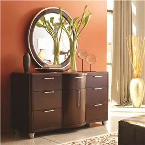 Aura Seven-Drawer One-Door Dresser & Round Mirror Combination by Opus Designs
