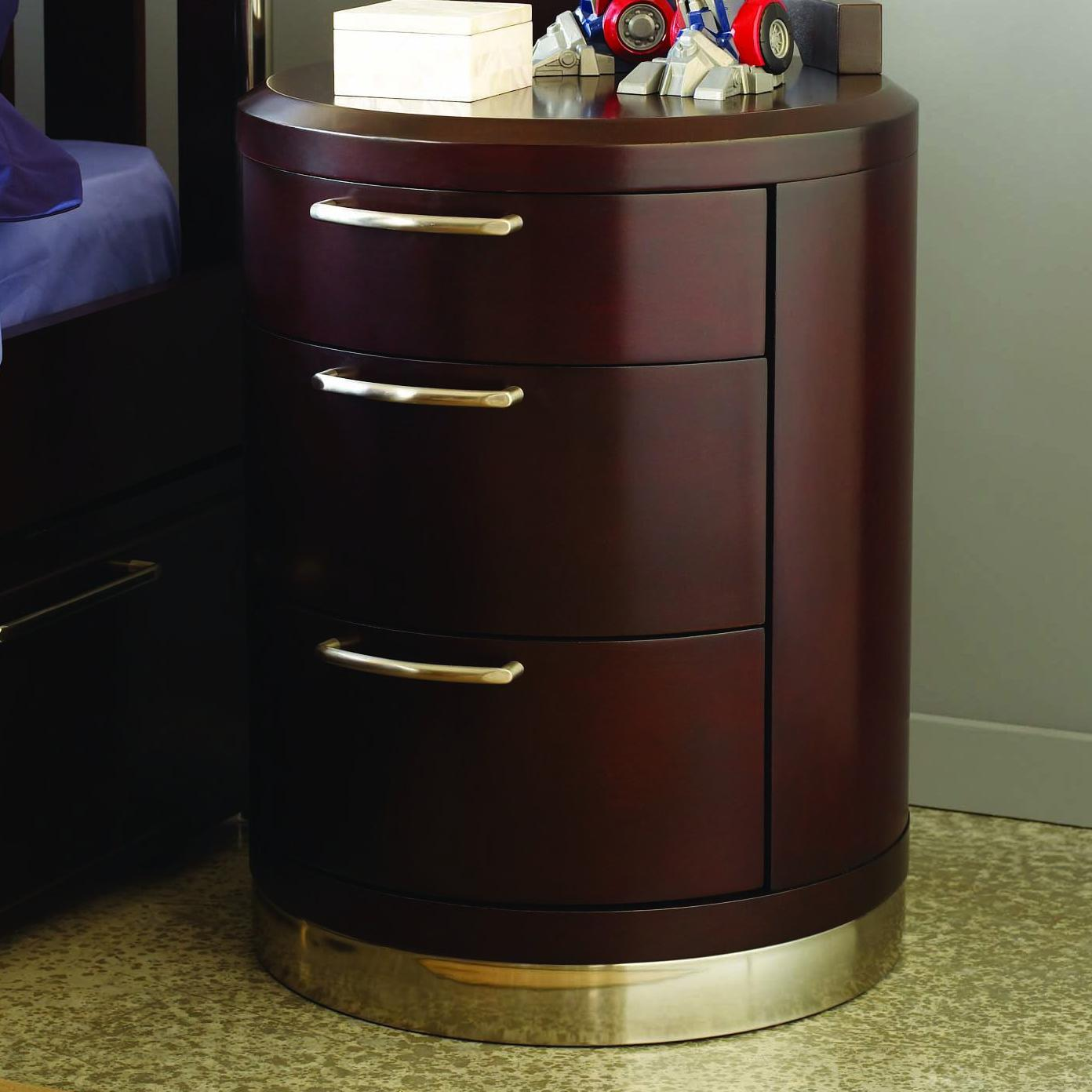 Opus Designs Aura Three Drawer Round Nightstand Ahfa Night Stand Dealer Locator