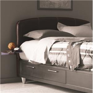 Aura Full-Size Leather Upholstered Headboard with Metal Side Tables by Opus Designs