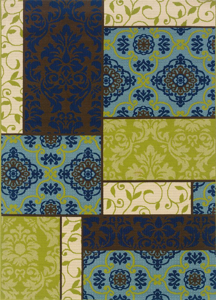 6.7 x 9.6 Area Rug : Blue/Green