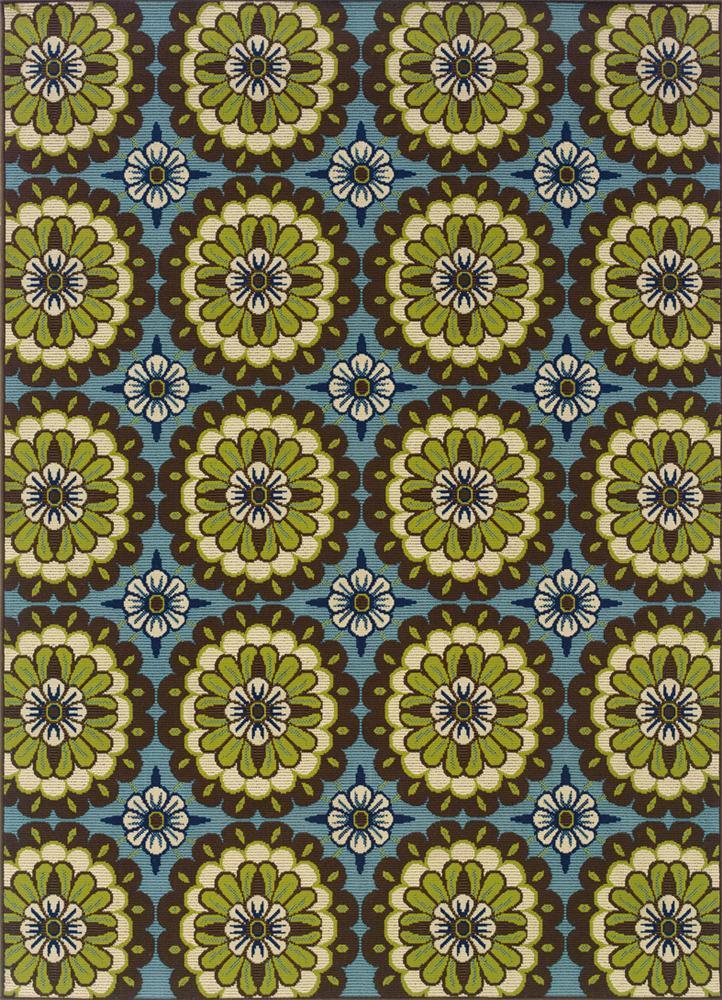 6.7 x 9.6 Area Rug : Blue/Lime