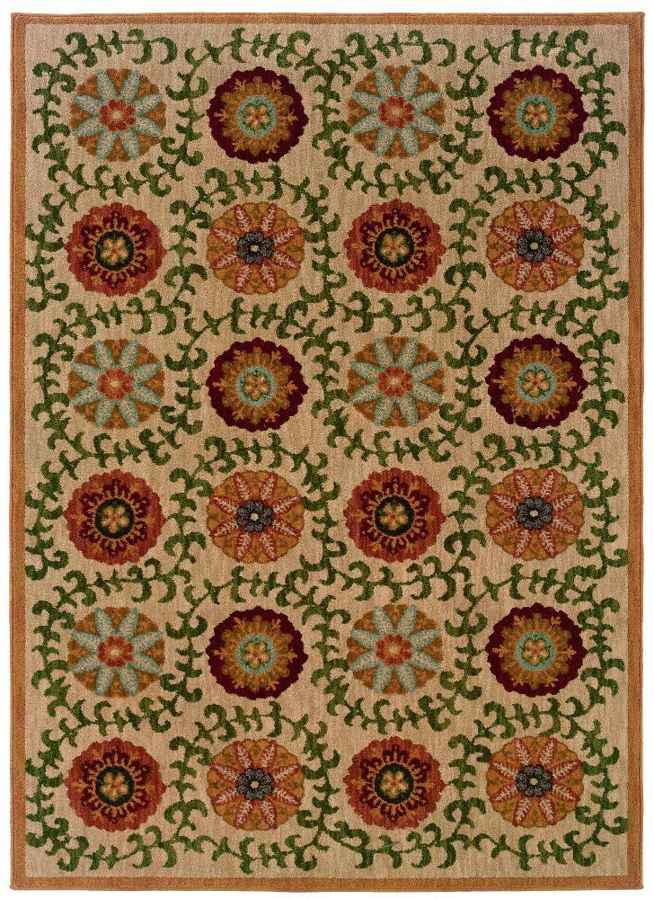 Oriental Weavers Inkus Floral 8 x 10 Area Rug : Beige - Item Number: 969759045