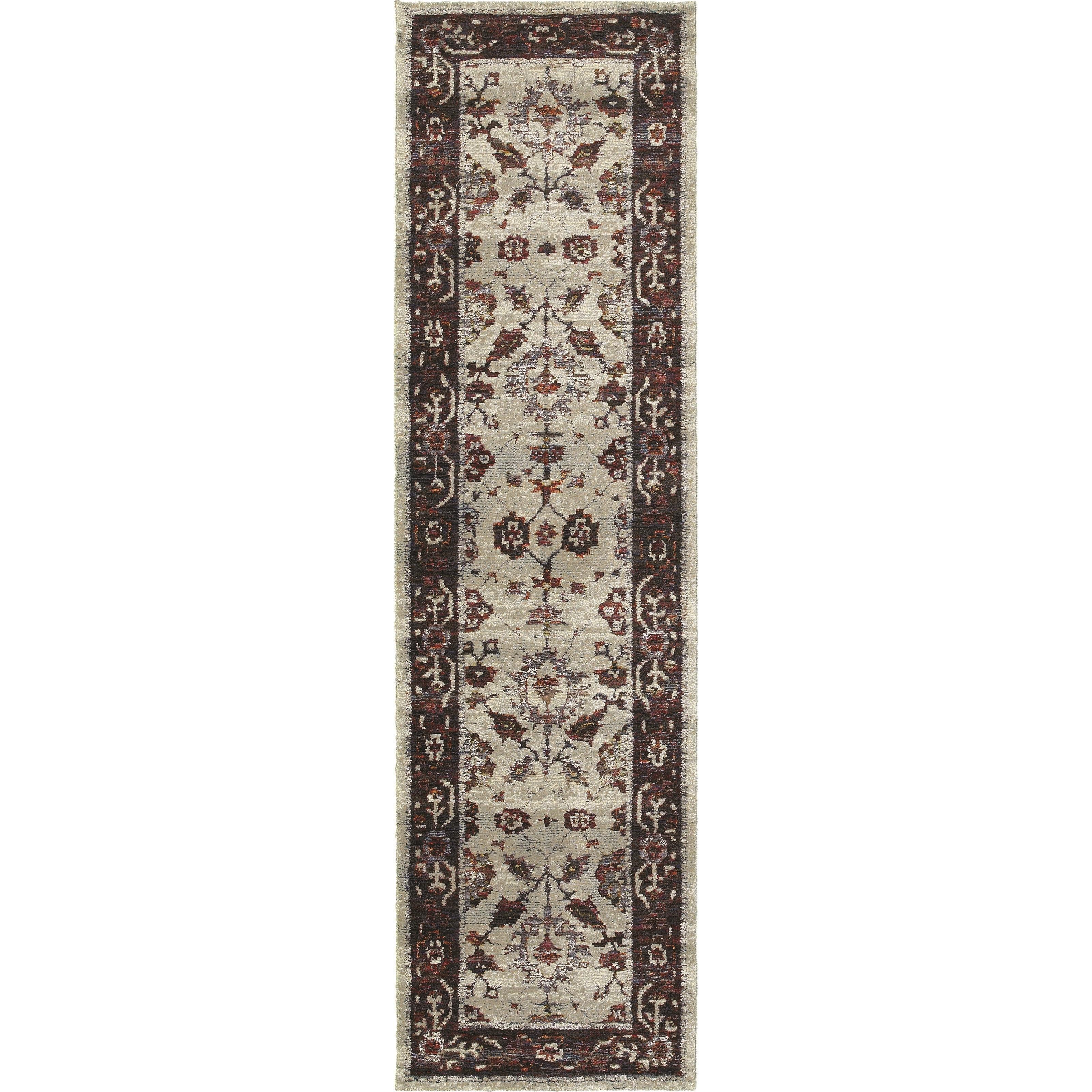 """Andorra 2' 3"""" X  8' 0"""" Casual Stone/ Red Runner Rug by Oriental Weavers at Steger's Furniture"""