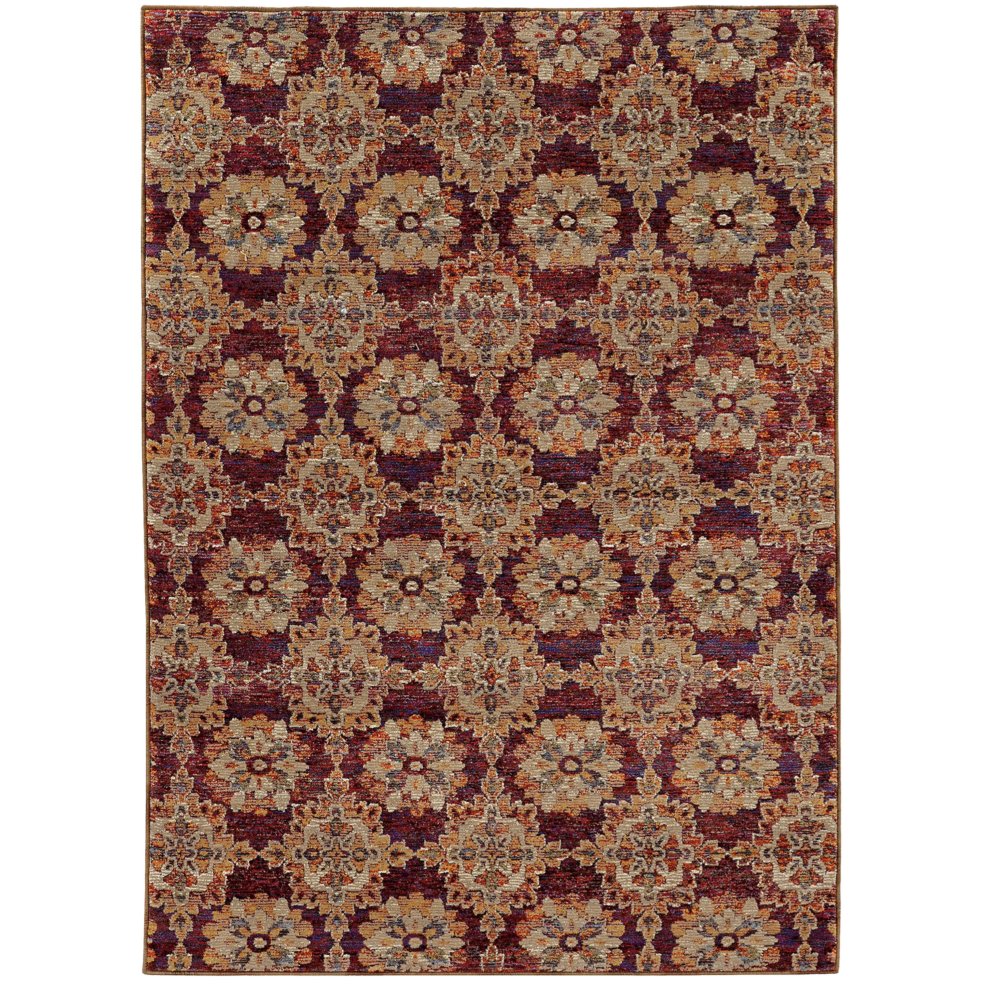 "Andorra 6' 7"" X  9' 6"" Casual Red/ Gold Rectangle Ru by Oriental Weavers at Steger's Furniture"