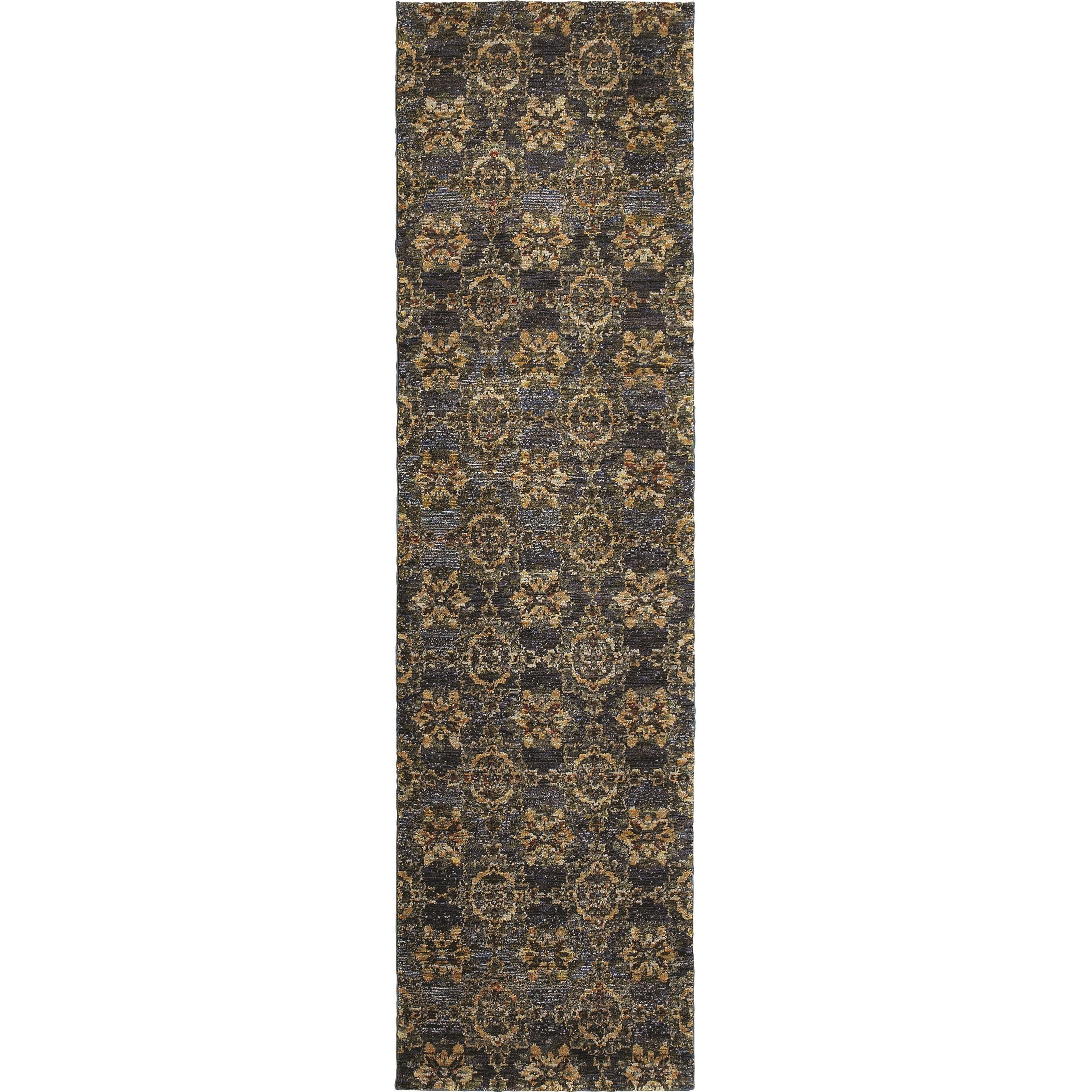 """Andorra 2' 3"""" X  8' 0"""" Casual Blue/ Gold Runner Rug by Oriental Weavers at Steger's Furniture"""