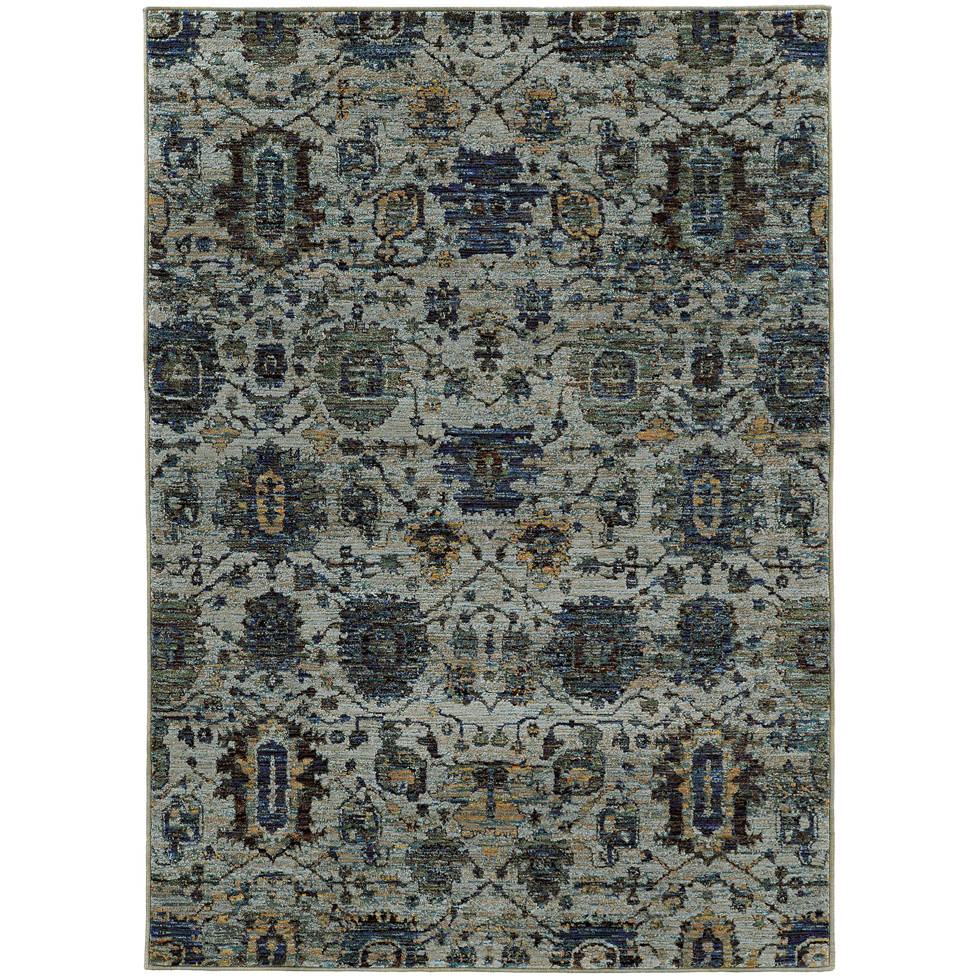 """3' 3"""" X  5' 2"""" Casual Blue/ Navy Rectangle R"""