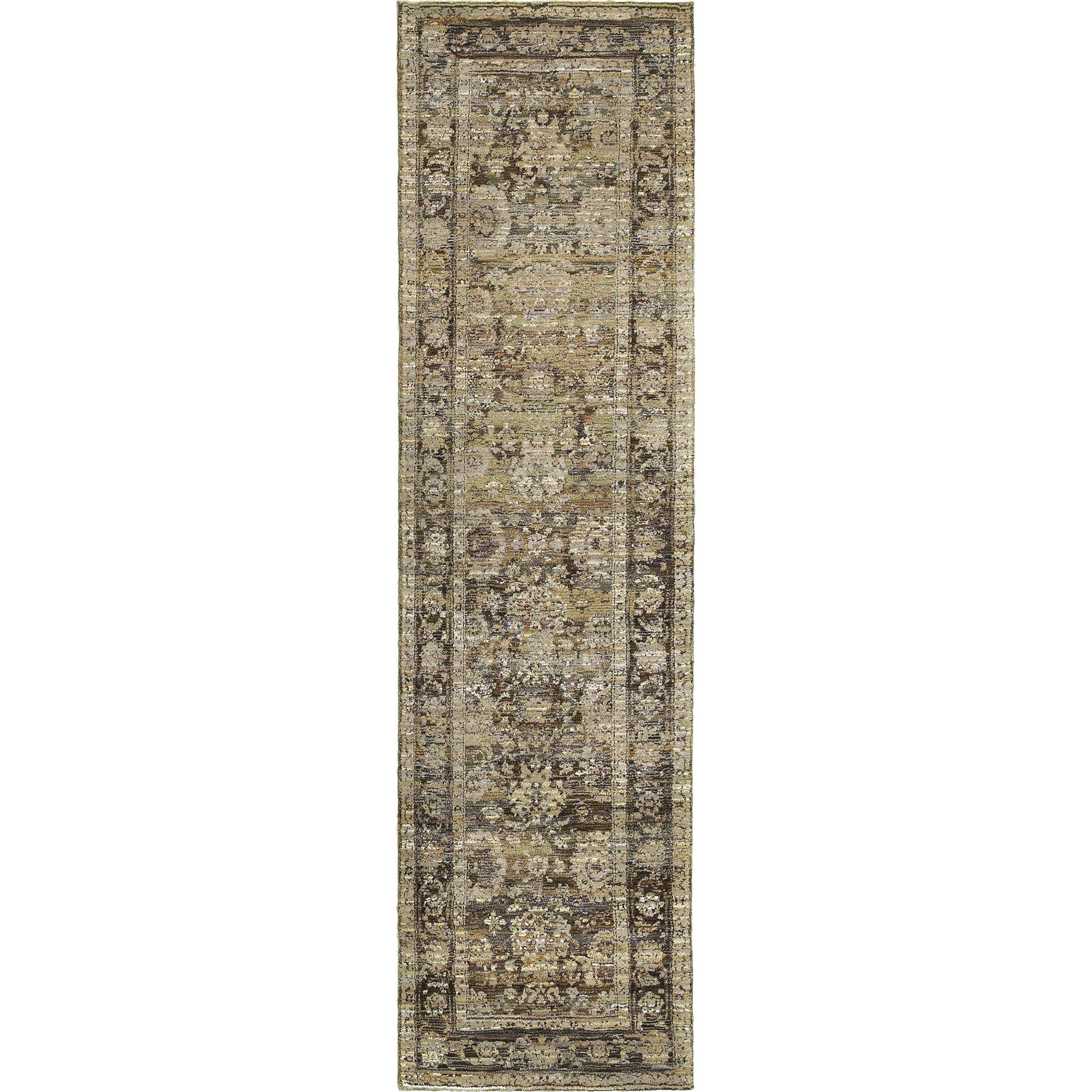"2' 3"" X  8' 0"" Casual Green/ Brown Runner Ru"